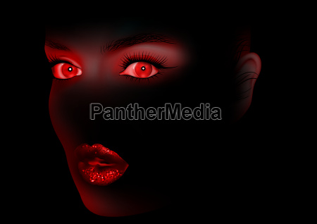 red woman eyes and lips on