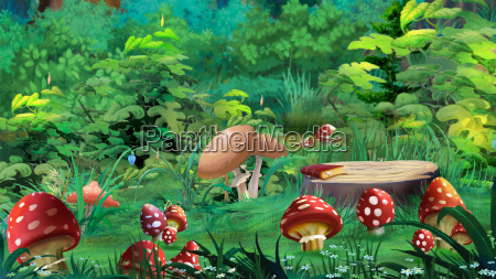 amanita mushrooms in a forest glade