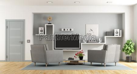 modernes wohnzimmer mit tv