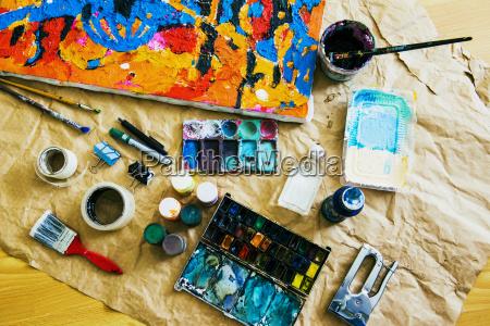 stilleben werkzeug innen freizeit kunst farbe