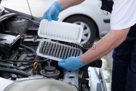 car engine air filters old and