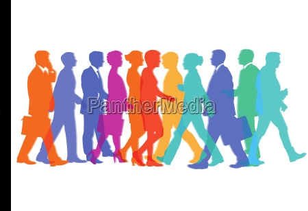 colorful group of people in motion