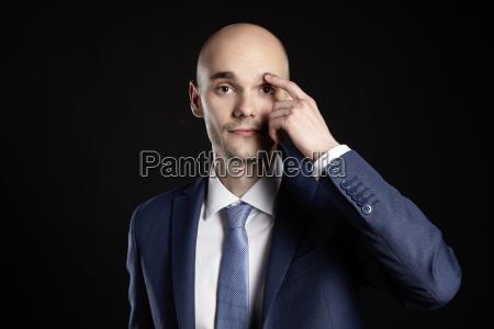 man improves eyebrow