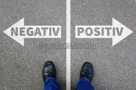 negativ positiv gut schlecht business konzept
