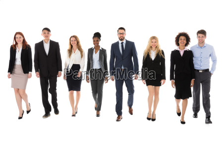 businesspeople walking on white background
