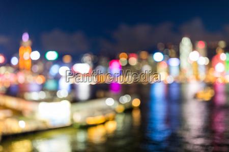 blur view of hong kong cityscape