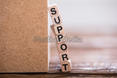 support word on wooden cube