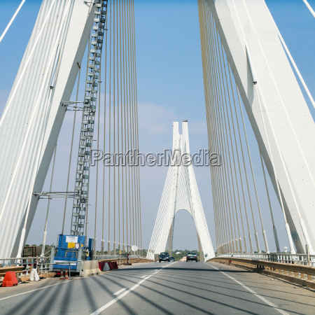 road on cable stayed bridge near