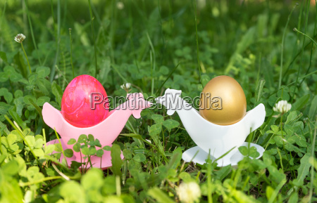 golden and pink easter egg in