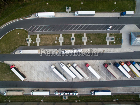 aerial view of a buss station