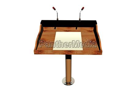hoelzernes rednerpult mit lampe und mikrofon
