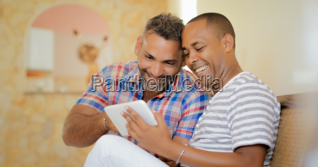 happy gay couple homosexual people men