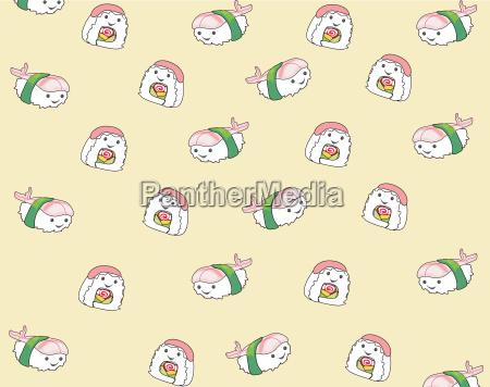 japanese food cartoon seamless pattern background