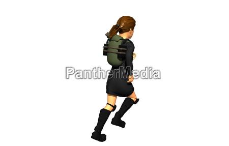 schulmaedchen mit rucksack freigestellt
