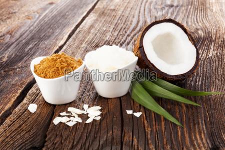 kokoszucker und kokosoel