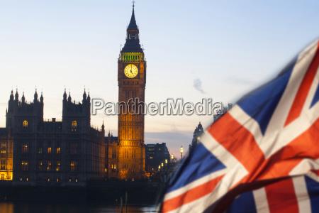 uk flag and big ben