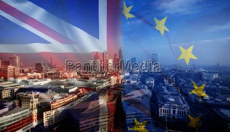 uk flag eu flag and financial