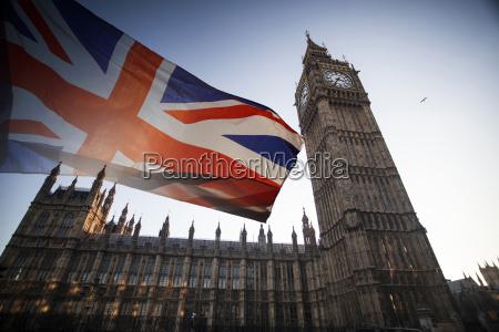 britische, flagge, und, big, ben - 22593681