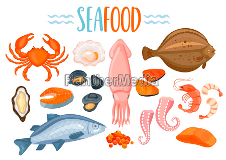 set of seafod icons in cartoon