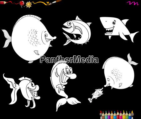 cartoon fish set coloring book
