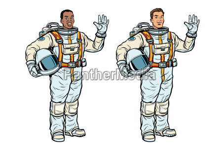 african and caucasian astronauts in spacesuits