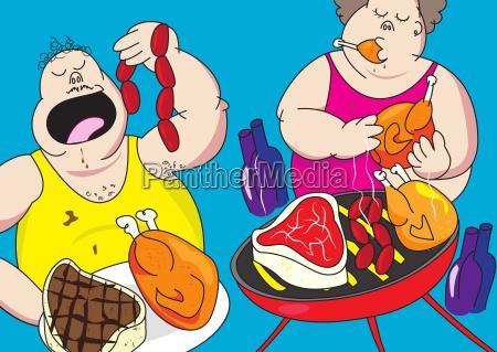lustige barbecue party schwein karikatur
