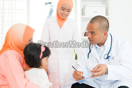 sick children consulting doctor