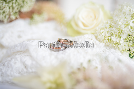 romantic still life with wedding rings