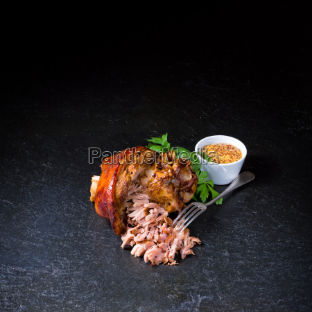 fresh roasted knuckle of pork with