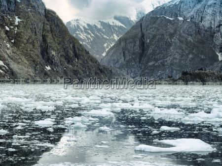 scenic coastal landscape with steep glacially
