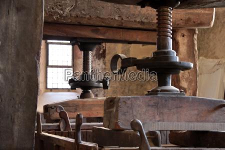 old wine presses on vineyard