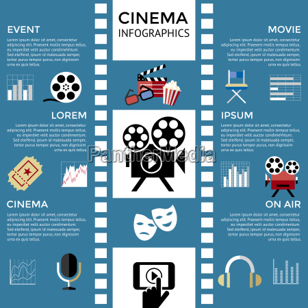 digital vector red blue cinema icons