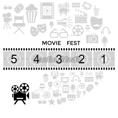 digital vector black cinema icons with