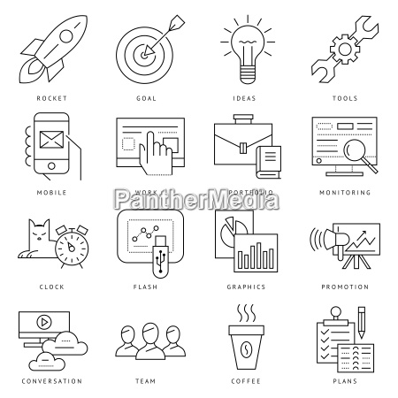 digital vector black startup business icons