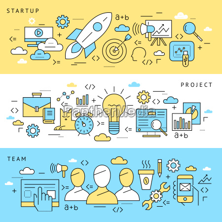 digital vector blue startup business icons