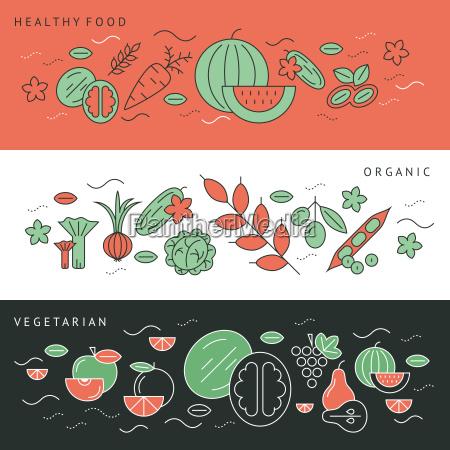 digital green black red vegetable icons