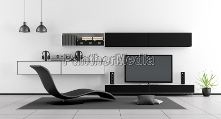 black and white room with tv