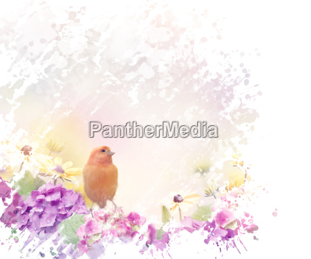 yellow bird with flowers