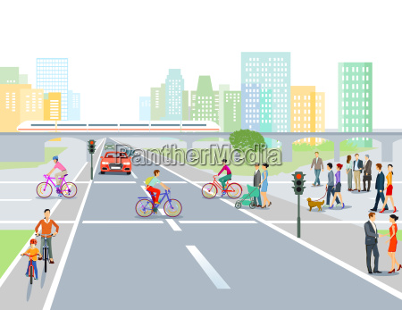 road with road junction in the