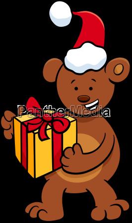 baer mit geschenk zur weihnachtszeit