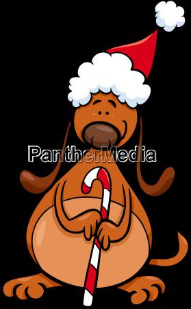 dog with christmas cane cartoon