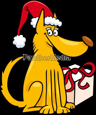 dog with christmas gift cartoon