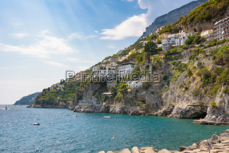 buildings on the cliff coast of