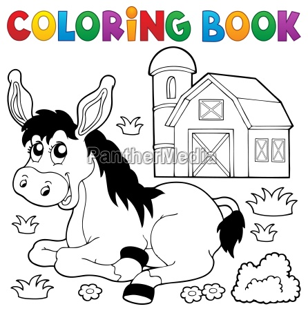 coloring book donkey and farm
