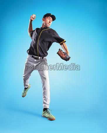 die eine kaukasischen mann als baseball