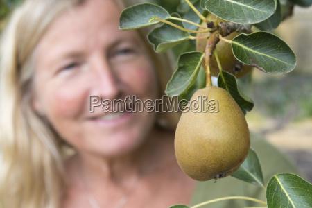 mature woman looking at pear tree