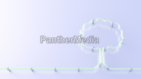 fluorescent lamp shaping a tree 3d