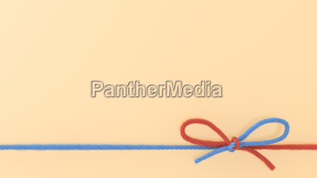 blue and red woolen bow 3d