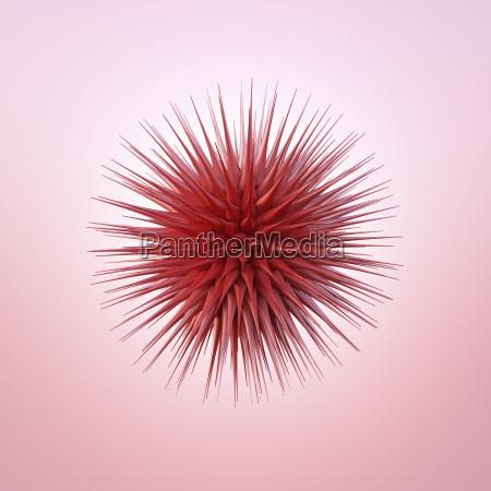 red spiky sphere 3d rendering
