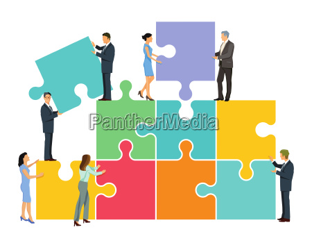 team puzzle in der gruppe illustration